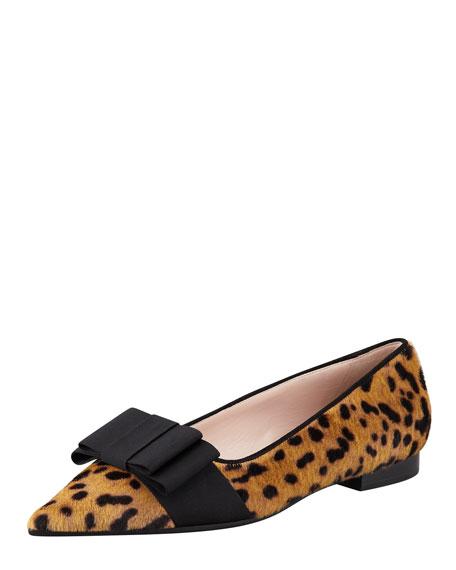 Pointy Leopard-Print Calf Hair Flat
