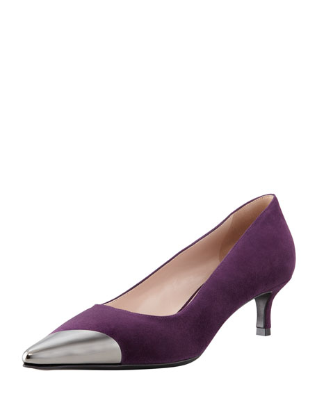 Metal Cap-Toe Suede Kitten-Heel Pump, Purple
