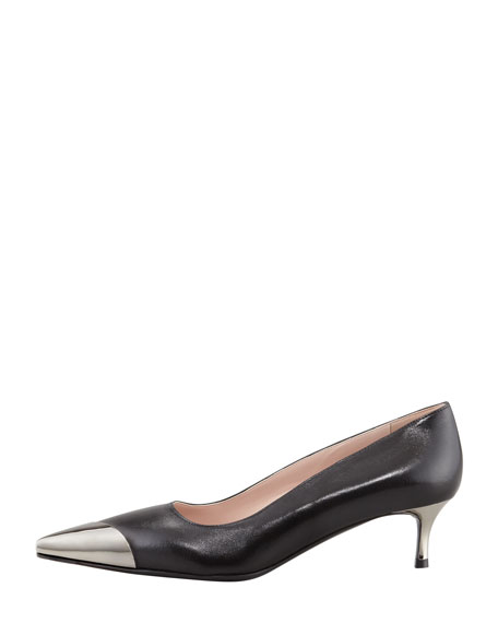 Metal Cap-Toe Leather Kitten-Heel Pump, Black