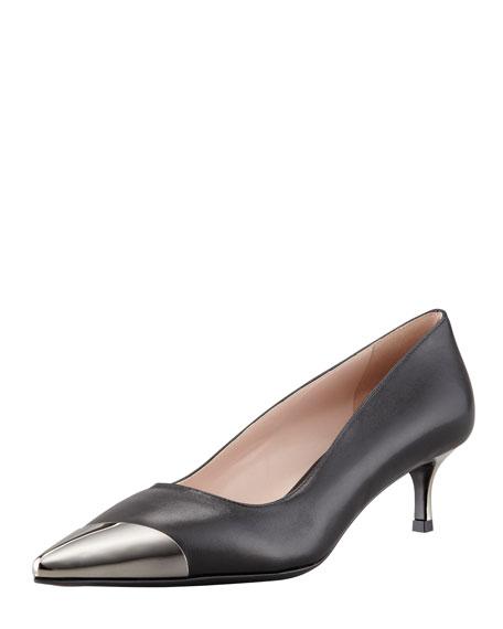 Metal Cap-Toe Leather Kitten-Heel Pump, Black