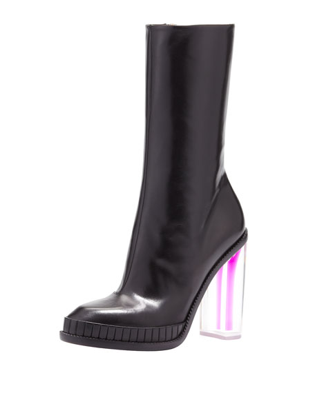 Lucite Leather Mid-Calf Boot with Violet