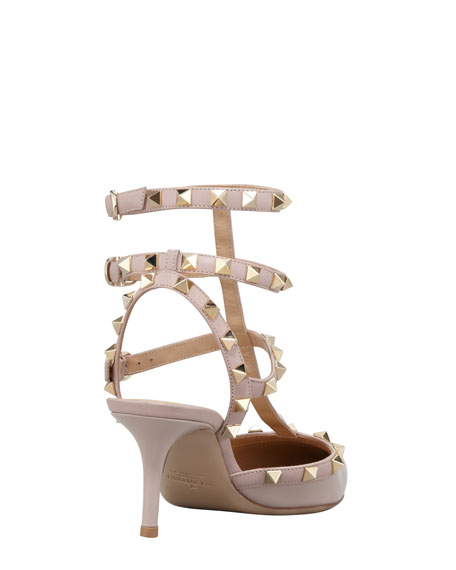 Rockstud Two-Tone Leather Sling Back, Stone
