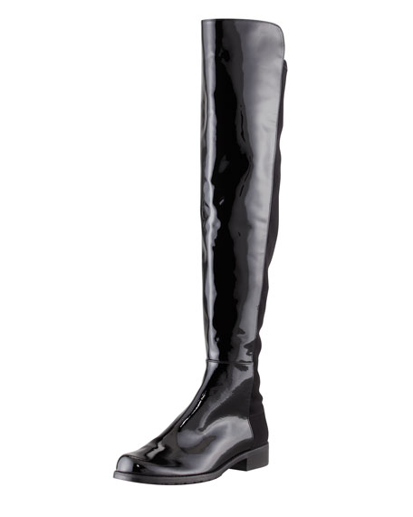 50/50 Patent Leather Knee-High Boot, Black