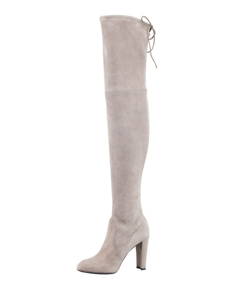 Highland Stretchy Suede Over-the-Knee Boot, Topo