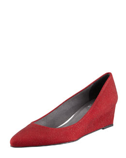 Stuart Weitzman Nuevo Point-Toe Saffiano Wedge, Scarlet