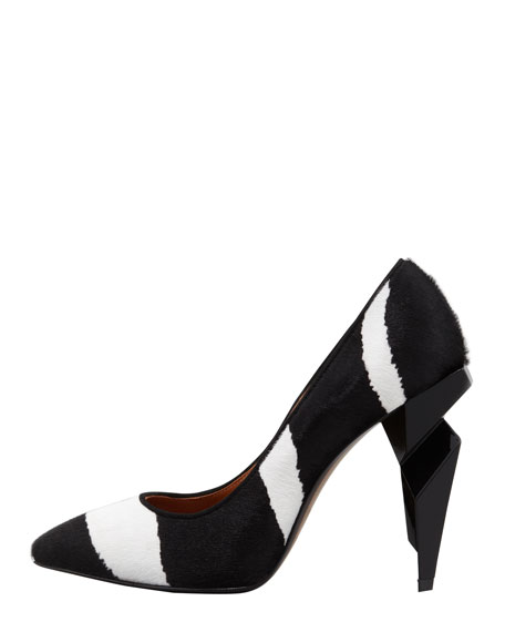 Zebra-Print Diamond-Heel Pump, Black/White