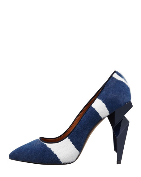 Zebra-Print Diamond Heel Pump, Blue/White