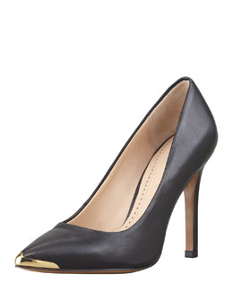 Pour la Victoire Christelle Metal-Tip Pointy-Toe High-Heel Pump, Black