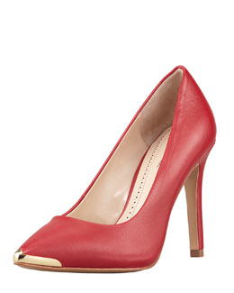 Pour la Victoire Christelle Metal-Tip Pointy-Toe High-Heel Pump, Red