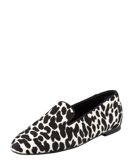 Animal-Print Calf Hair Smoking Slipper
