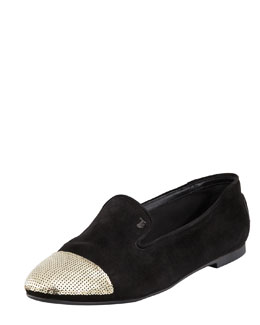 Tods Sequin Cap-Toe Suede Smoking Slipper