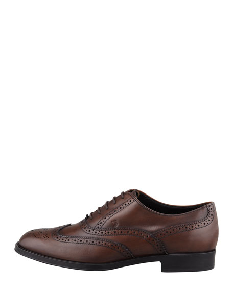 Burnished Leather Wing-Tip Oxford, Cocoa