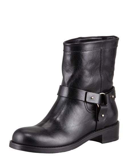 Dixi Shiny Calfskin Low Moto Boot, Black