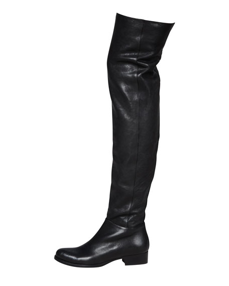 Georgina Stretch Leather Over-the-Knee Boot, Black