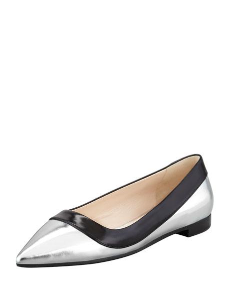 Bicolor Metallic Point-Toe Flat, Black/Silver