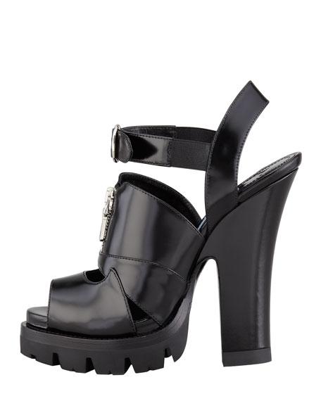 Zip-Front Lugged Platform Sandal