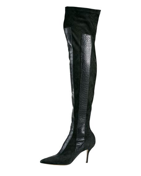 Print-Panel Over-The-Knee Boot, Black