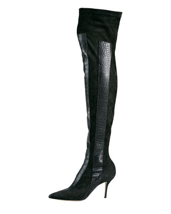 Print-Panel Over-The-Knee Boot, Black