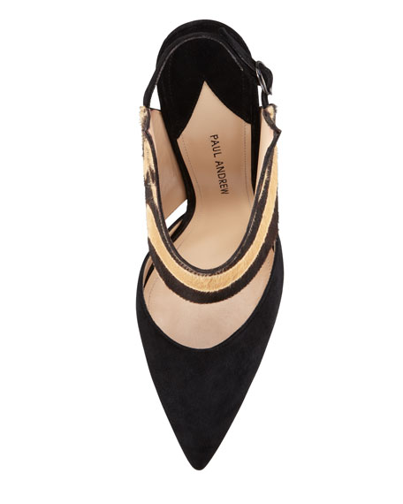 Aphrodite Wing Pointed-Toe Zebra-Print Pump, Tan/Black