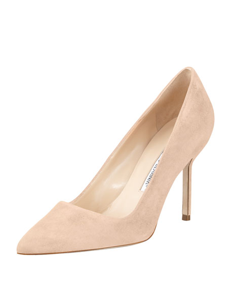 manolo blahnik bb suede 90mm pump nude made to order rh bergdorfgoodman com