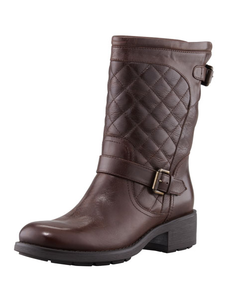 Sweetness Short Quilted Moto Boot, Espresso