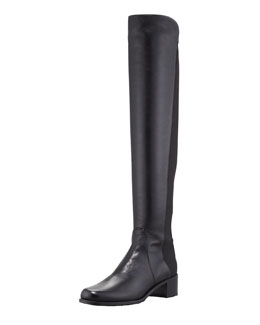Stuart Weitzman Reserve Leather Stretch-Back Knee Boot