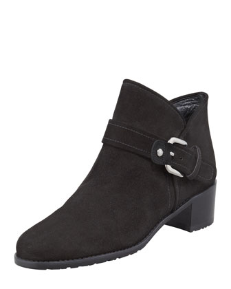 Dude Suede Buckled Bootie, Black