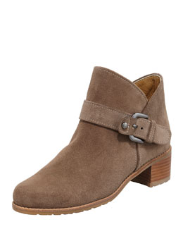 Stuart Weitzman Dude Suede Buckled Bootie, Neutral