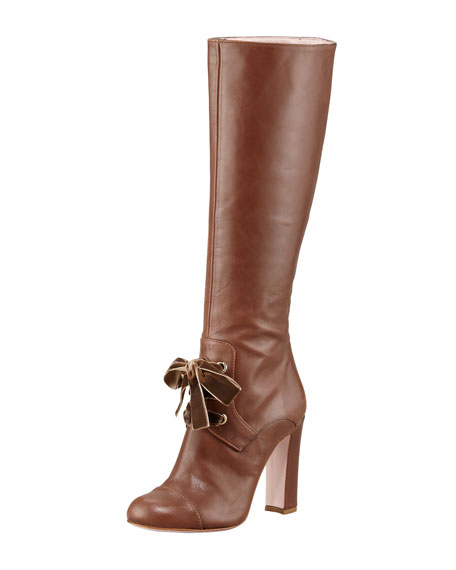 Lace-Front Leather Knee Boot