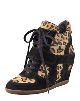 Ash Bonno Leopard-Print Calf Hair Wedge Sneaker