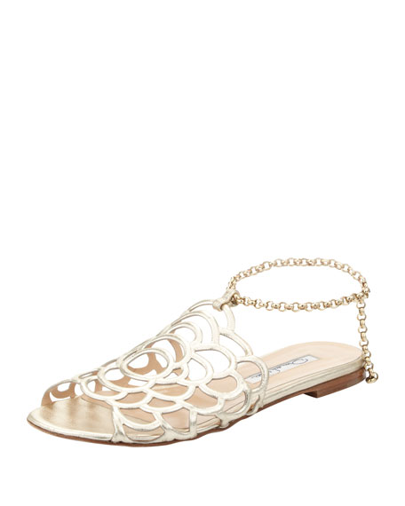 Begonia Ankle-Wrap Flat Slingback Sandal, Gold