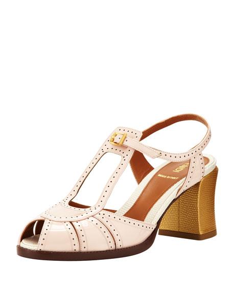 Patent Tri-Tone Heel Sandal