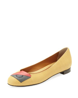 Fendi Eye Saffiano Ballerina Flat, Yellow