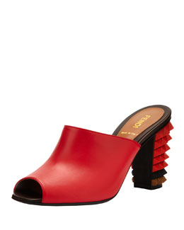 Fendi Leather Pyramid Stud-Heel Slide, Red/Brown