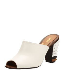 Fendi Leather Pyramid Stud-Heel Slide, White/Black