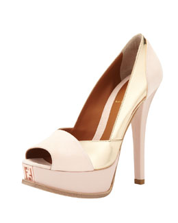 Fendi Suede & Metallic Leather Pump, Rose/Gold