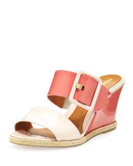 Fendi Patent Double-Strap Wedge Slide, Rosa/Baby Petunia