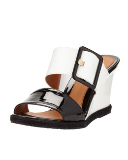 Fendi Patent Double-Strap Wedge Slide, Black/White