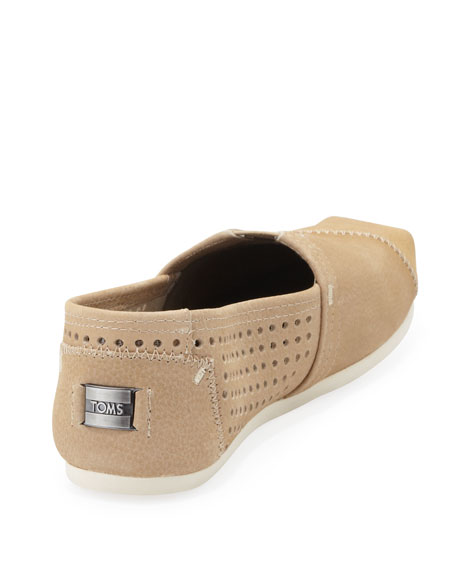 Perforated Leather Slip-On, Sand