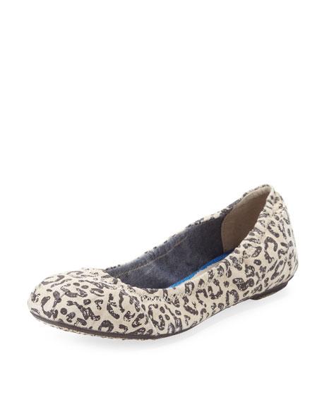Leopard-Print Scrunch Suede Flat