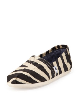 TOMS Zebra-Print Slip-On, Black/White