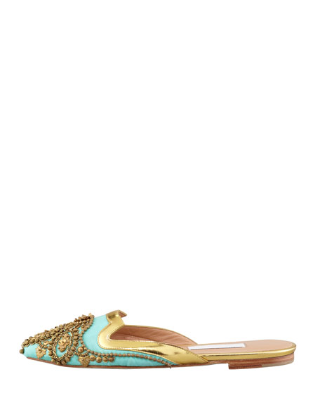 Spanish Sequin-Embellished Mule, Aqua