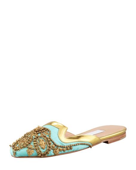 Spanish Sequin-Embellished Mule, Aqua