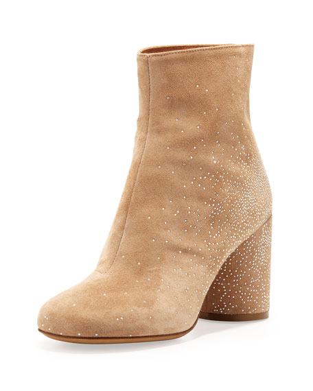 Suede Sparkle Ankle Boots, Flesh