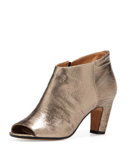 Maison Martin Margiela Leather Peep-toe Metallic Ankle Bootie