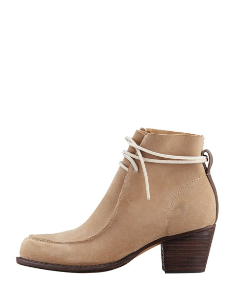 Piper Suede Lace-Up Boot, Camel