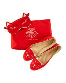 Charlotte Olympia Satin Kitty Slippers Eye Mask Set, Red
