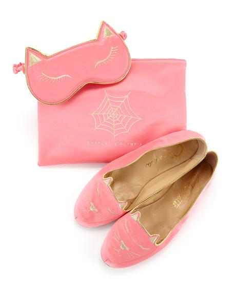 Satin Kitty Slippers & Eye Mask Set, Pink
