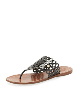 Tory Burch Davy Laser-Cut Thong Sandal, Black