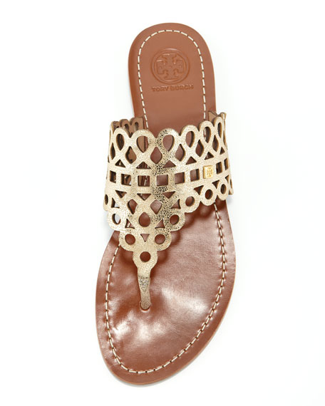 Davy Laser-Cut Thong Sandal, Platinum